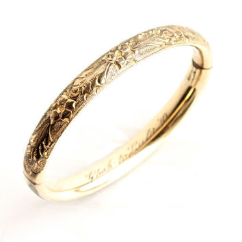 Antique Gold Filled Hinged Bracelet -  Edwardian Floral Vine Art Nouveau Bangle Jewelry / Chad to Lula 1910