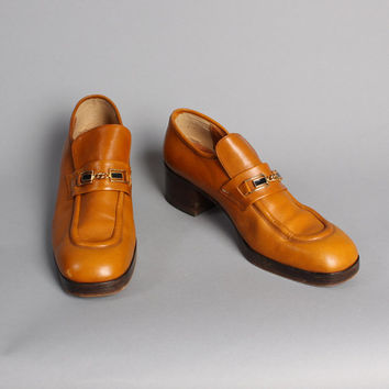 MEN'S 70s PLATFORM Shoes / Caramel Brown Chunky Disco Loafers, 10