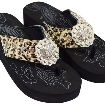 Western Cowgirl Leopard Straps Bling Flower Concho Metal Studs Wedge Flip Flops - Size 9