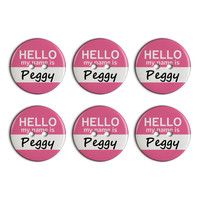 Peggy Hello My Name Is Plastic Resin Button Set of 6