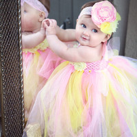 Gorgeous Beautiful Pink Lemonade Tutu Strawberry Lemonade Baby Girl Tutu Dress for 1st Birthday 6-12 months old