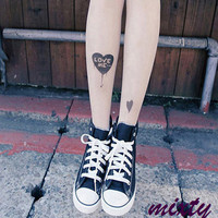 Sale Love me Tattoo Pattern Pantyhose  Tights by Mixty on Etsy