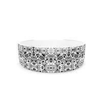 "Mydeas ""Fancy Damask Black & White"" Gray Pet Bowl"