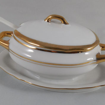 "Empire Porcelain Mustard Dish with Lid 5 3/4"" Long, Vintage Empire Porcelaine, Vintage Mustard Dish or Condiment Dish with Gold Trim"