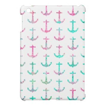 Pink Teal Turquoise Glitter Nautical Anchors Case For The iPad Mini from Zazzle.com