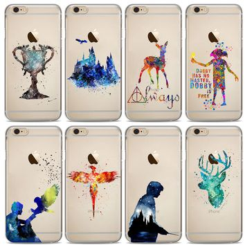 Harry Potter Watercolor Design Transparent Cases For iPhone
