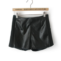 Black Faux Leather Pleat Zipper Shorts