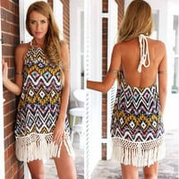 Womens Tassel Bohemian Halter Dress