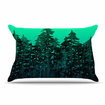 "Ebi Emporium ""Forest Through The Trees 9"" Purple Black Pillow Case"