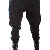 Black with Teal Nappytabs Harem Zipper Tux Pants at Threader® Streetwear, Hip Hop Clothing, and Urban Clothing