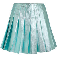Miu Miu - Pleated metallic leather mini skirt