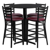 30'' Round Black Laminate Table Set with Ladder Back Metal Bar Stool and Burgundy Vinyl Seat, Seats 4