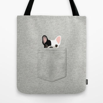 Pocket French Bulldog - Pied Tote Bag by Anne Was Here