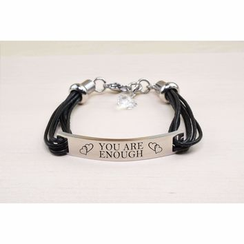 Genuine Leather Id Bracelet With Crystals From Swarovski - You Are Enough