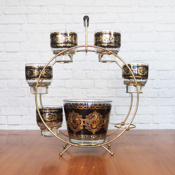 Mid Century Culver Glass Barware Set with Merry-Go-Round Holder / Black and Gold Baroque Ice Bucket and Rocks Glasses