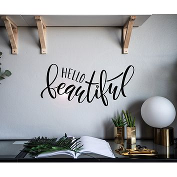 Vinyl Wall Decal Words Hello Beautiful Lettering Home Interior Stickers Mural 22.5 in x 10 in gz158