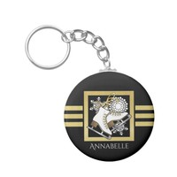 Ice | Figure Skating Black Faux Gold Modern Name Keychain