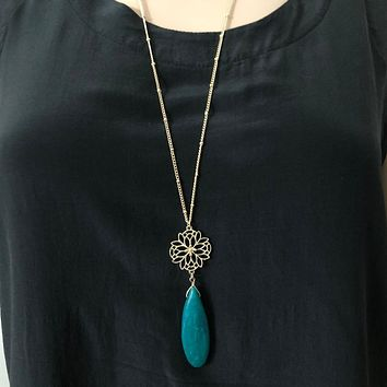 Teal Teardrop Long Gold Chain Necklace