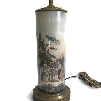 Vintage Table Lamp Porcelain Column with Romantic Scenes Classical Art Brass Base Antique Lightning Wired and Working Vintage Lighting