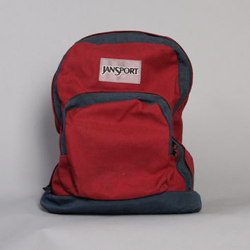 Vintage JANSPORT BACKPACK / 2-Tone Burgundy & Navy Blue Canvas