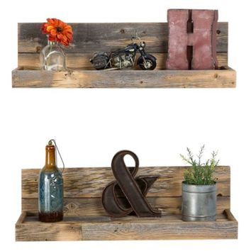 Del Hutson Reclaimed Wood Floating Shelves - Set of 2 - Wall Shelves & Hooks at Hayneedle