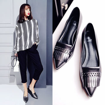 Summer Pointed Toe Tassels With Heel Leather Casual Shoes [6050465601]