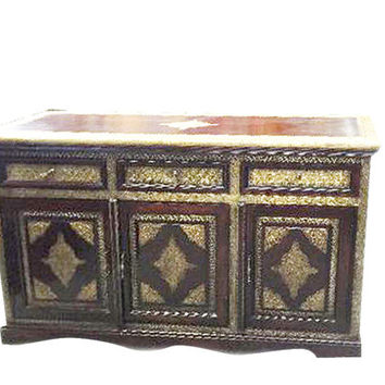 Vintage Brass cladded Sideboard Dresser Chest with Drawers Tv Console Cabinet Furniture