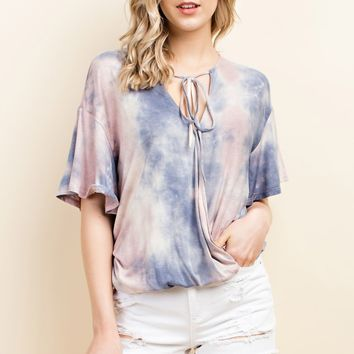 Tie Dye Surplice Short Sleeve Top with Neck Tie - Dusty Multi
