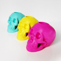 Human Skull, Set 3, Tea Light Candle Holder, Skull Candle, Skull Decor, Skulls Australia, Skull Decor, Hodi Home Decor, Colored Human Skulls
