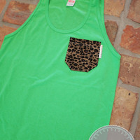 Neon Green Tank with Leopard Print Fabric Pocket