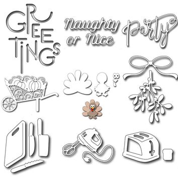 Adv-one 18 Style Kitchen Tools Thanksgiving Greeting words Metal Dies Cut Cutting die Scrapbooking Embossing Stencils Card Decor