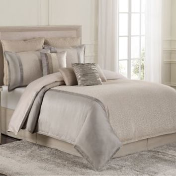 Raymond Waites Parker Comforter Set in Grey/Tan