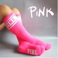Pink Women Letter Art Stockings