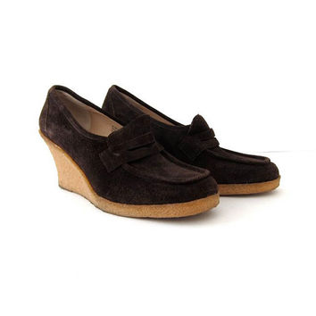 25% OFF STOREWIDE! Michael Kors rubber wedges. brown nubuck loafers. womens 8