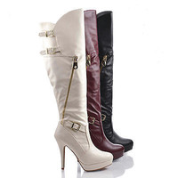 Marcella11 Over The Knee Almond Toe Zip Up Buckled Platform Stiletto Boots