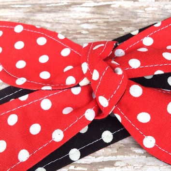 Dolly Bow Tie Up Headscarf Headband Bandana - Hair Accessory Boho Head Wrap -Rockabilly Head Band - Reversible - Red White Polka Dot Scarf