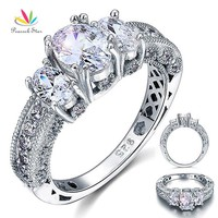 Peacock Star Vintage Style 2 Carat Solid 925 Sterling Silver Wedding Engagement Ring Jewelry CFR8093
