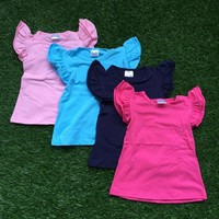 free shipping 2016 baby girls summer T-shirt children solid color outfits 4 color kids boutique top