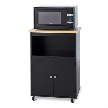 Modern Kitchen Microwave Cart with Storage Nook in Black