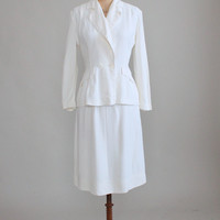 Vintage 1940s White Rayon Summer Suit