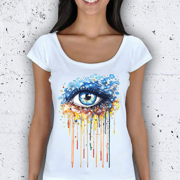 Watercolor Eye Women Wide Collar T-Shirt / Special Production (Limited Edition)