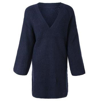 Simple Plunging Neck Solid Color Loose-Fitting 3/4 Sleeve Women's Sweater