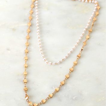 Pearl & Charm Layered Necklace Gold