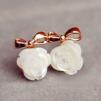 Pearl Flower and Golden Bow Earrings - LilyFair Jewelry