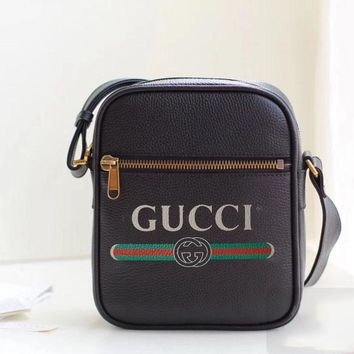 Gucci New Fashion Shopping Bag Letter Print Leather Single Crossbody Shoulder Bag Women Satchel