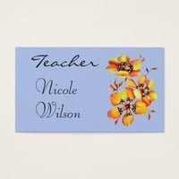 Watercolor Orange Flowers for Teachers- Blue Grey Business Card