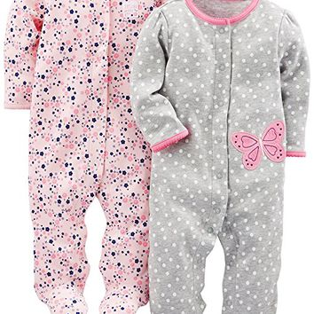 Girls' 2-Pack Cotton Footed Sleep and Play