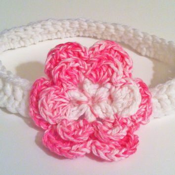 Crochet Pink Flower Headband, Baby Hair Accessory, Valentines Day Photo Prop, 3 to 6 Months Old