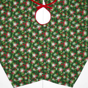 Christmas Tree Skirt, Reversible, Green with Silver Starburst, Red with Black Pindot