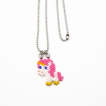 Small Kawaii Beaded Pink Unicorn Necklace On Small Ball Chain